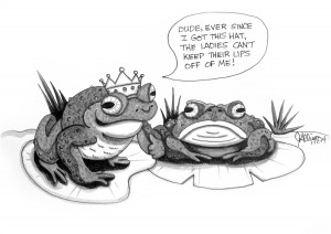Two Frogs Cartoon with Pen & Ink