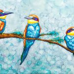 Painting of 3 little birds on a limb
