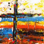 Abstract painting of three crosses