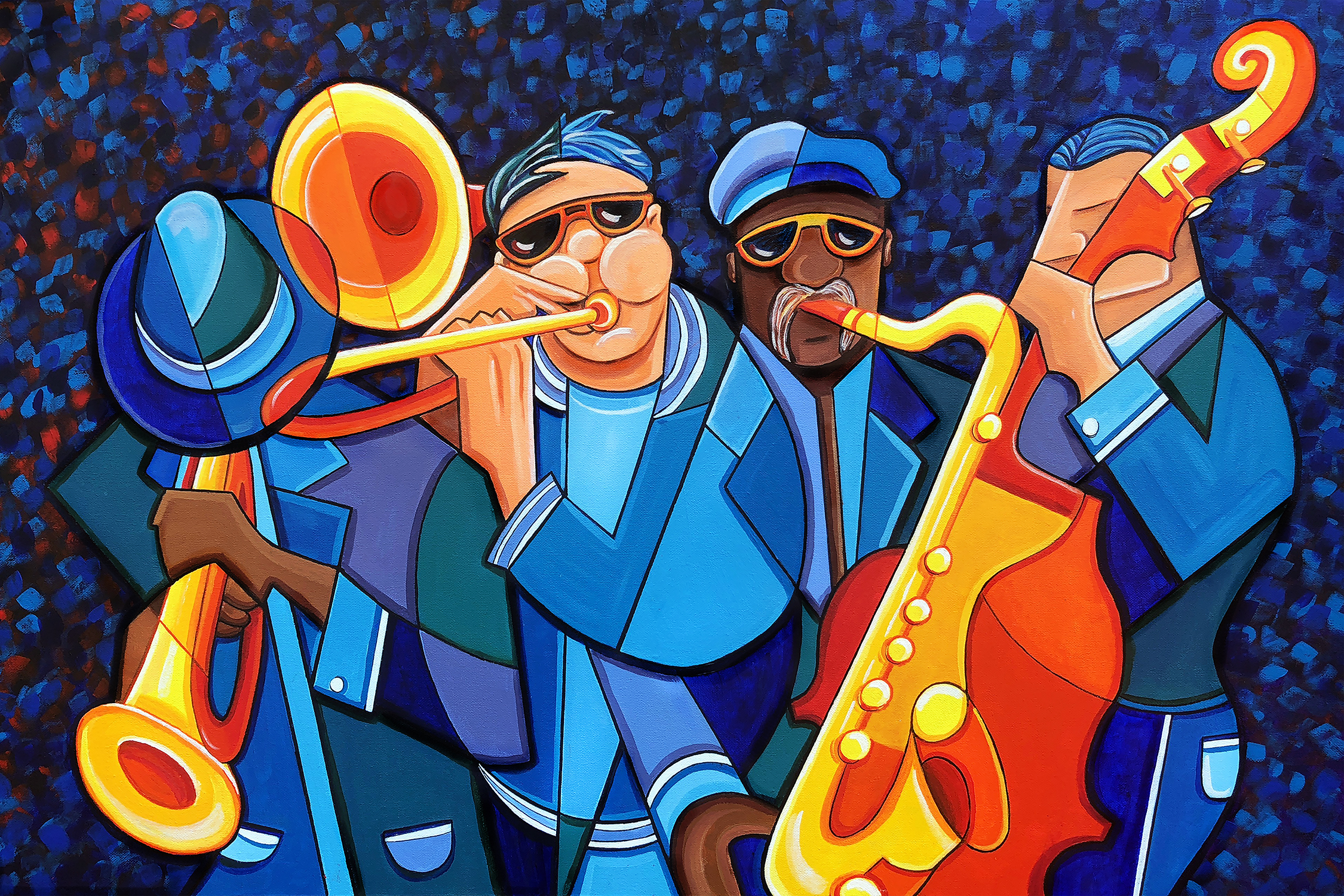 Cubism acrylic painting of a jazz band