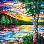 Abstract palette knife painting of a sunset reflecting in the water