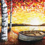 Fingerpainting of a rowboat under birch trees by the lake at sunset