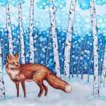 Painting of a red fox in a snowy birch forest