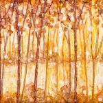 Painting of a golden forest