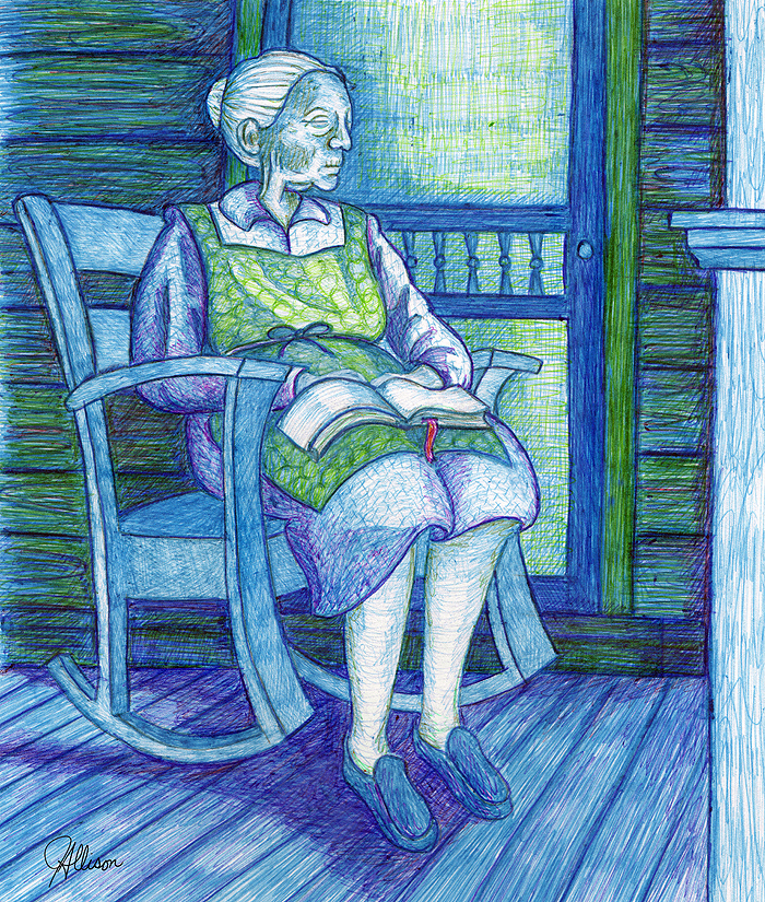 Ballpoint pen drawing of old lady sitting in a rocking chair