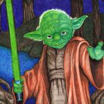 Ballpoint pen drawing of Yoda