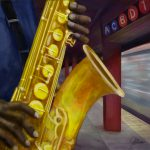 saxophone player in the subway