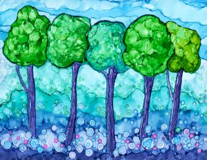 Alcohol Ink painting of trees