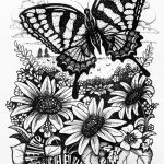 Pen and ink drawing of a butterfly