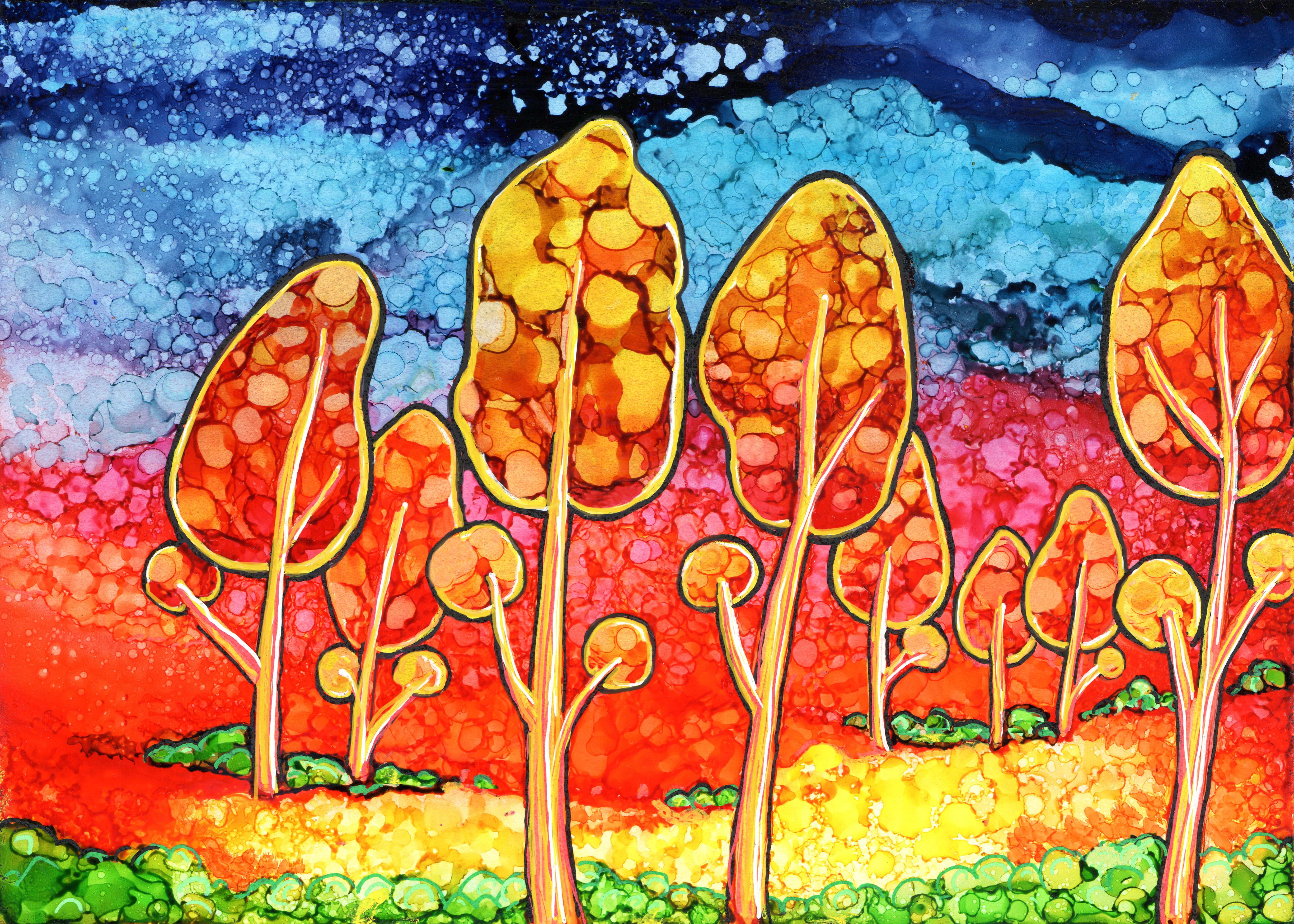 whimsical trees painting