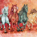 Painting of the four horses of the apocalypse