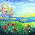 Palette knife painting of poppies in a field at sunset
