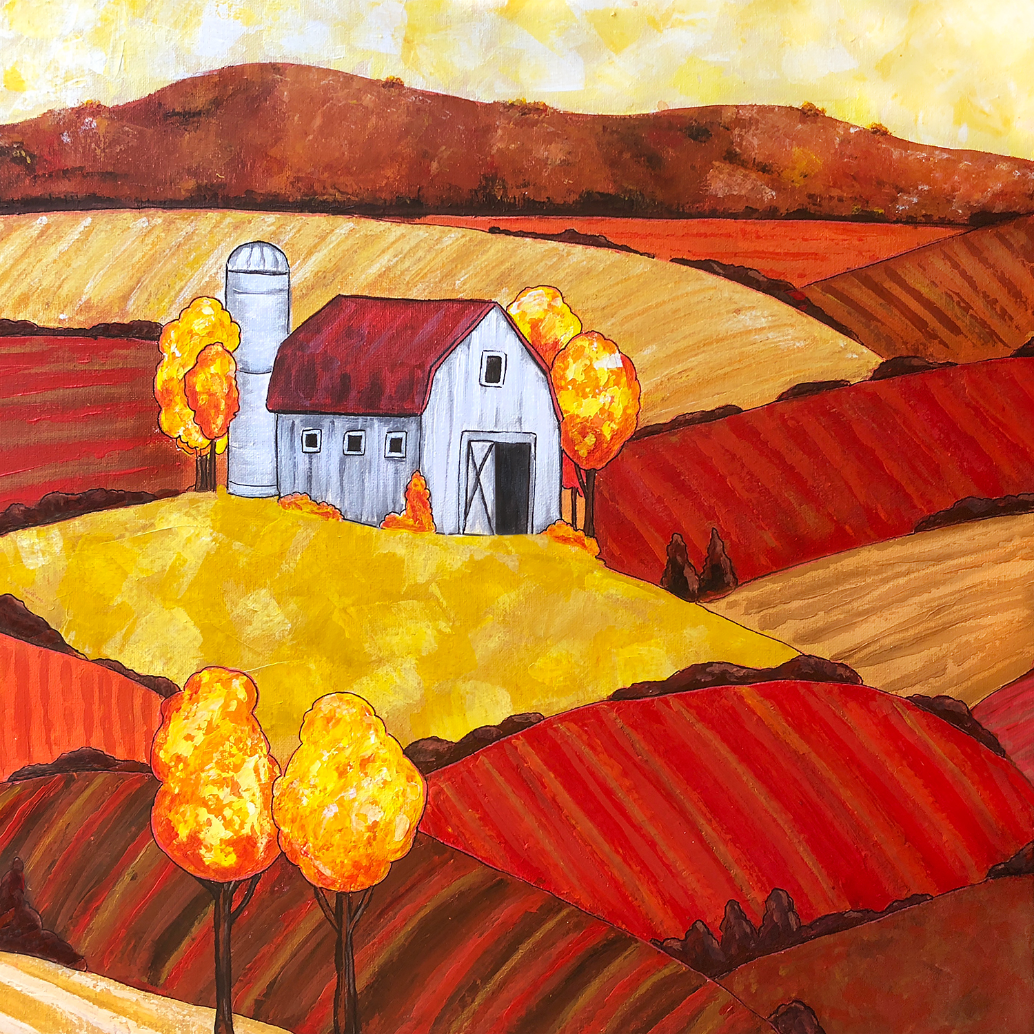 Painting of a barn on a hill